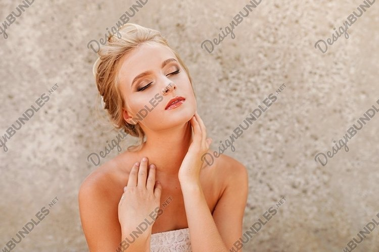 girl with natural make-up. Fashion shiny highlighter on skin example image 1