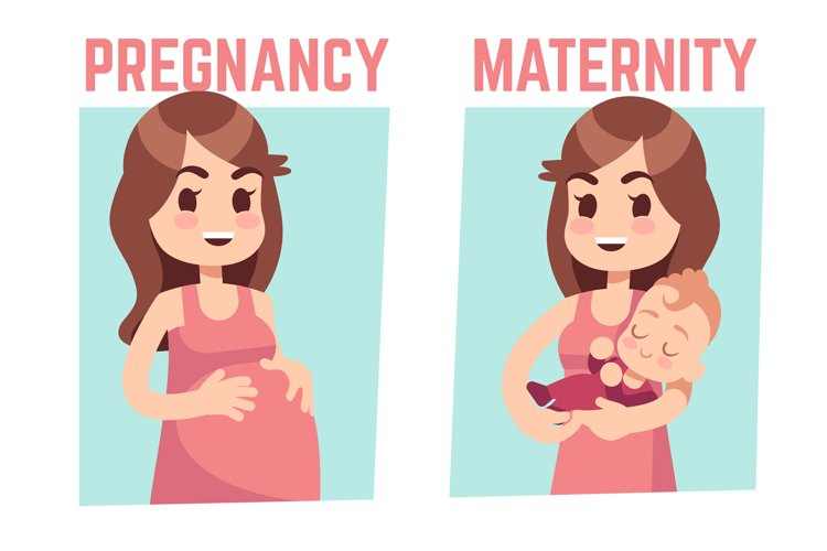 Pregnancy and maternity concept. Young pregnant woman and ha example image 1