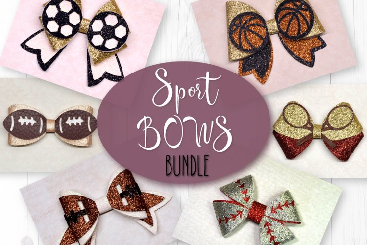 6 Sport Hair bow template SVG, Faux leather bow Cricut file example image 1