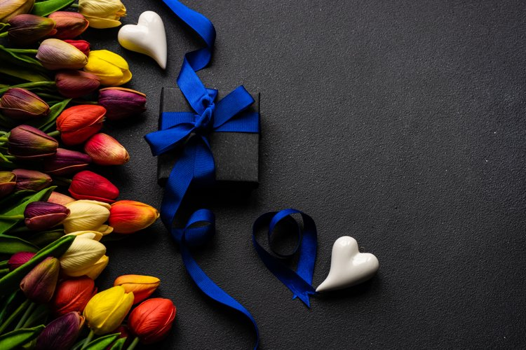 St. Valentine card concept with tulips, hearts and gift example image 1