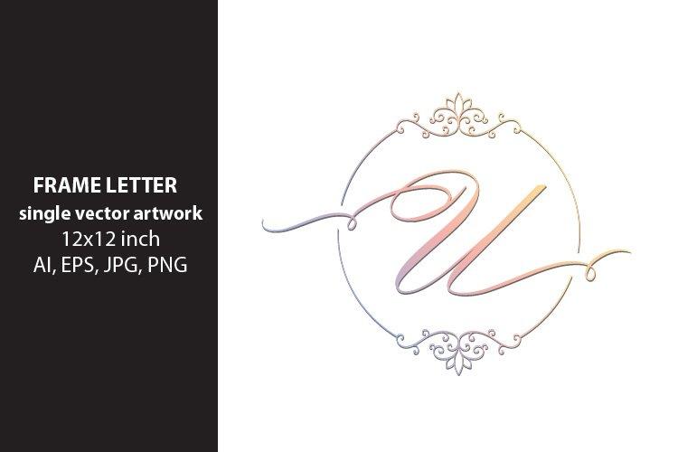 letter u inside ornate frame - single vector artwork example image 1