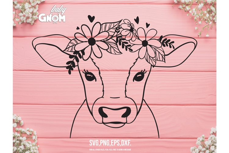 Cow SVG file, Cow with Flower Crown SVG, Cow cut file, Anima example image 1