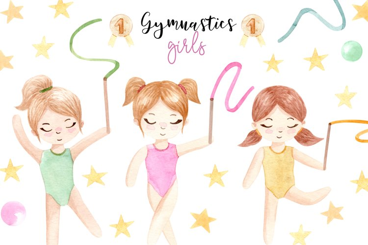 Watercolor Gymnastic Girls. Patterns and Cliparts example image 1