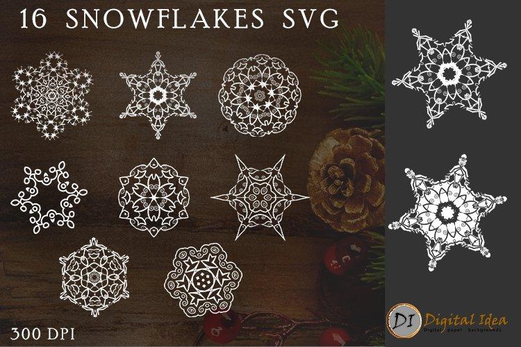 Snowflake SVG Silhouettes. 16 snowflake svg example image 1