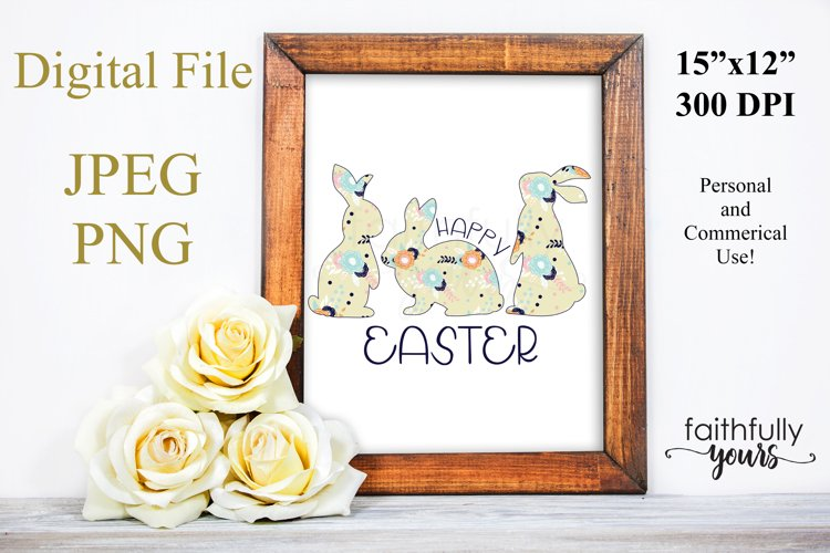 Happy Easter with floral bunnies png jpeg Sublimation Design example image 1