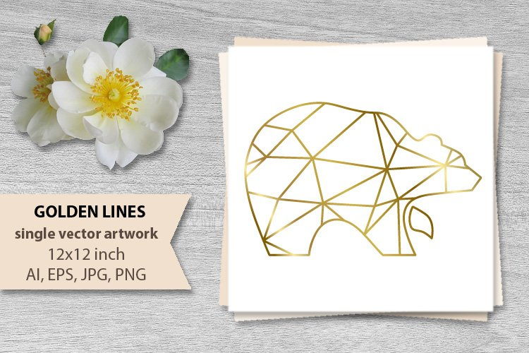 GOLDEN LINES BEAR- single vector artwork example image 1