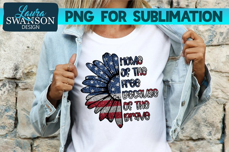 Patriotic Sunflower Glitter PNG | Patriotic PNG Sublimation