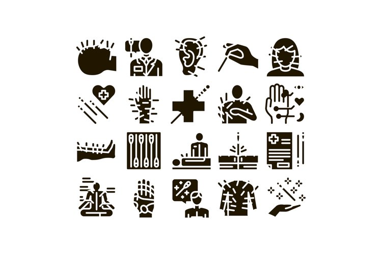 Acupuncture Therapy Glyph Set Vector example image 1