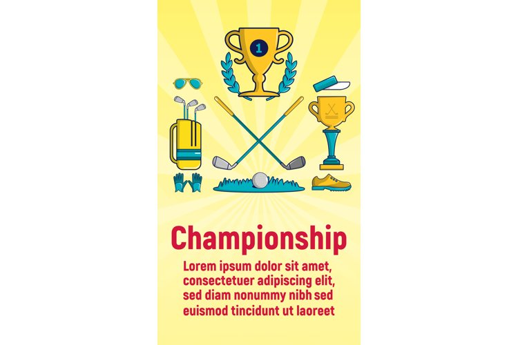 Championship concept banner, cartoon style example image 1