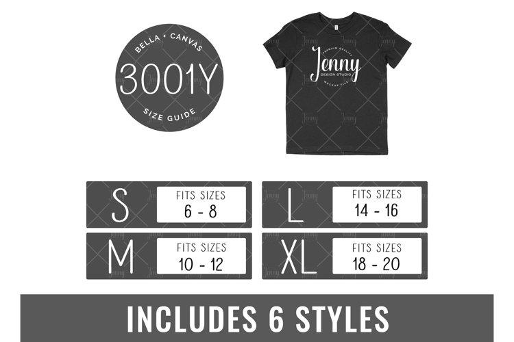 Bella Canvas 3001Y Tshirt Size Chart Mockup