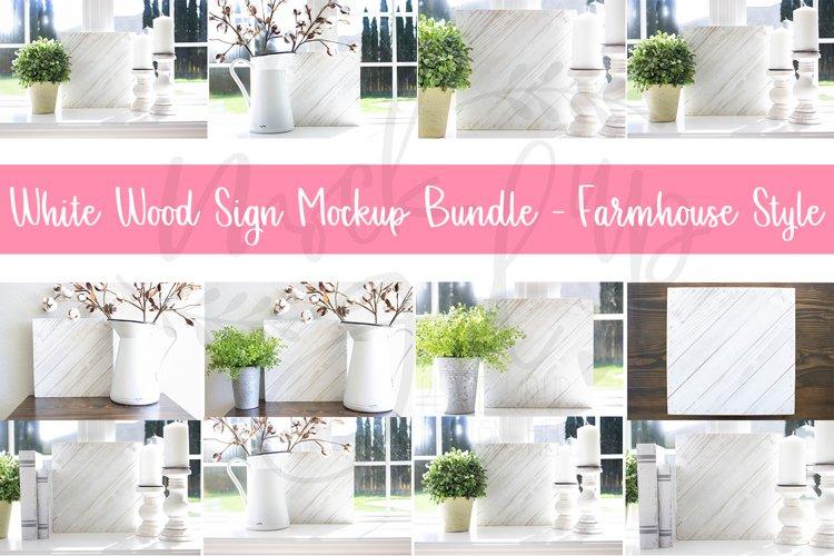 White Wood Sign Mockup Bundle - Farmhouse style - 13 Images