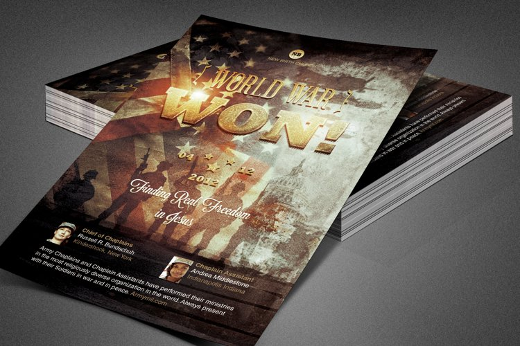 World War Won! Church Flyer Template
