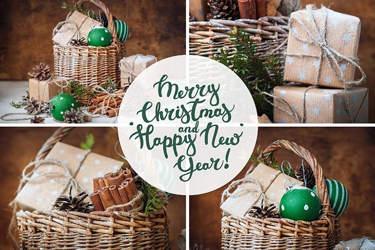 4 vintage christmas cards/ JPG Text in PNG/PSD Drawing snow example image 1