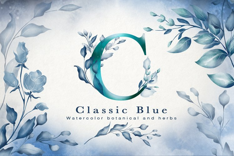 Classic Blue Watercolor Botanical example image 1