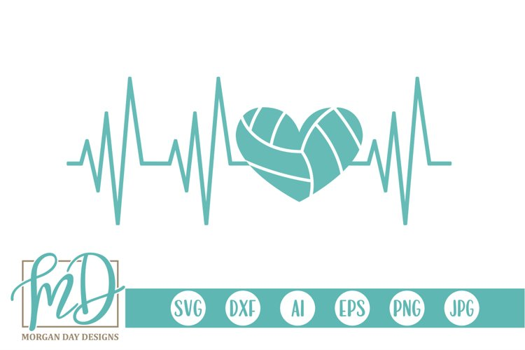Volleyball - Volleyball Mom - Volleyball Heartbeat SVG example image 1