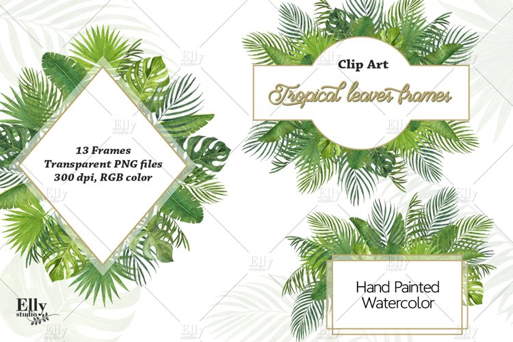 Tropical Leaves Frames, Watercolor Summer Tropical Clipart