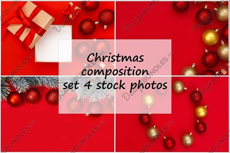 Christmas composition, set of 4 stock photos. example image 1