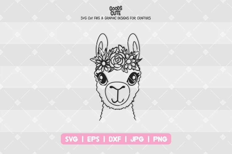 Llama With Flower Crown - SVG example image 1