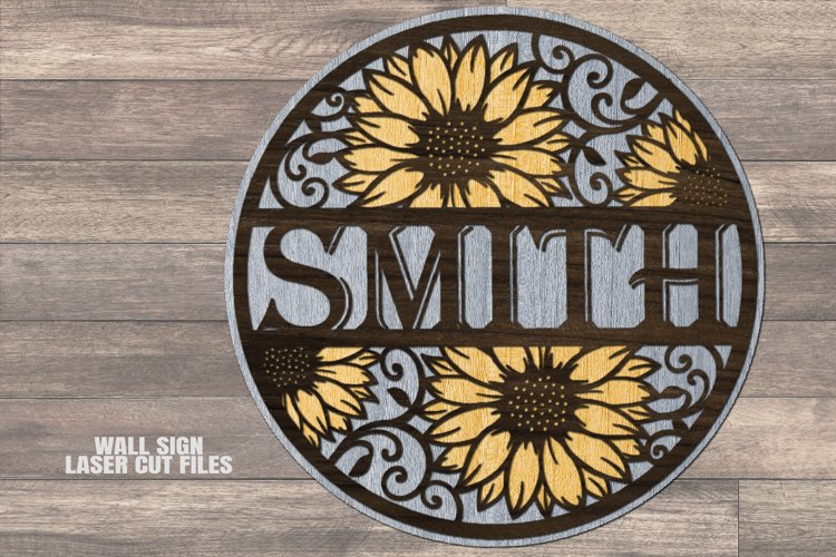 Sunflower Monogram Round SVG Glowforge File Laser Cut Files