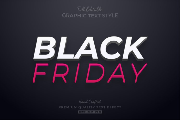Black Friday Editable Eps Text Style Effect Premium example image 1