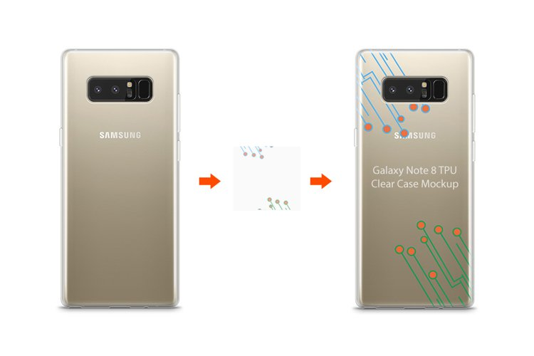 Samsung Galaxy Note 8 TPU Clear Case Mockup Back example image 1