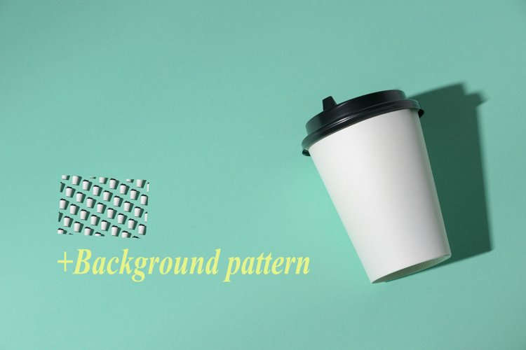Paper cup turquoise background