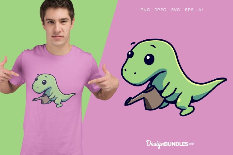 Watering Dino Vector Illustration For T-Shirt Design example image 1