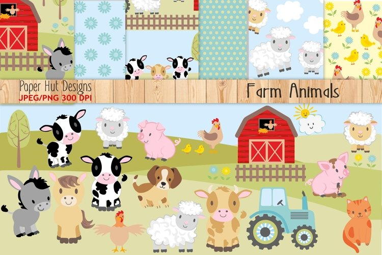 Farm Animals Clipart and Digital Papers example image 1