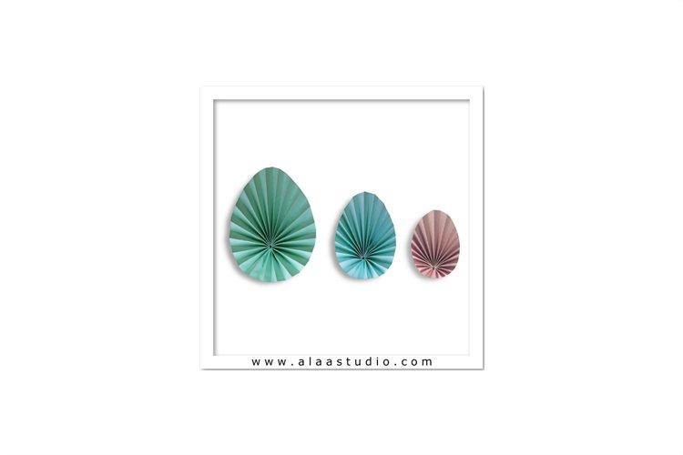3D Pleated decorative eggs, SVG, PDF, SILHOUETTE STUDIO Formats