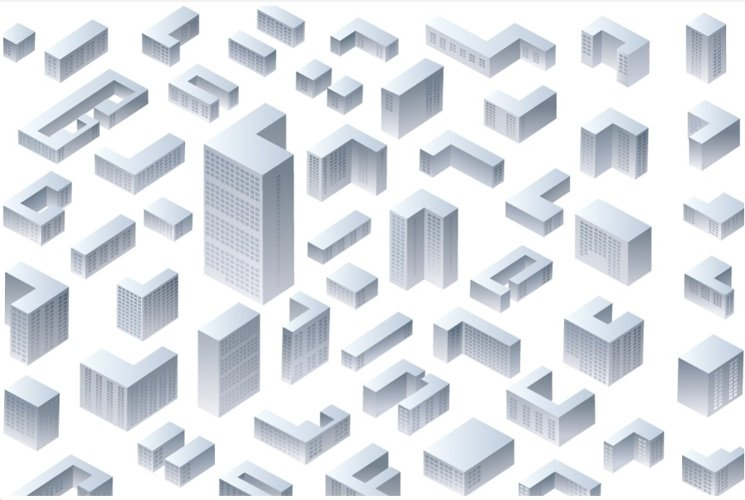 Isometric residential and office buildings