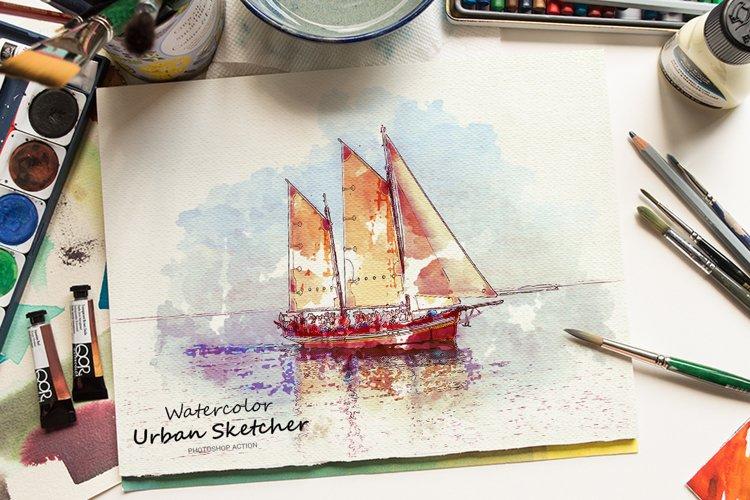 Watercolor Urban Sketcher Photoshop Action example image 1
