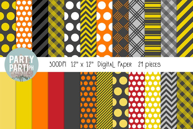 Yellow, Gray, Red Instant Download Digital Paper Seamless