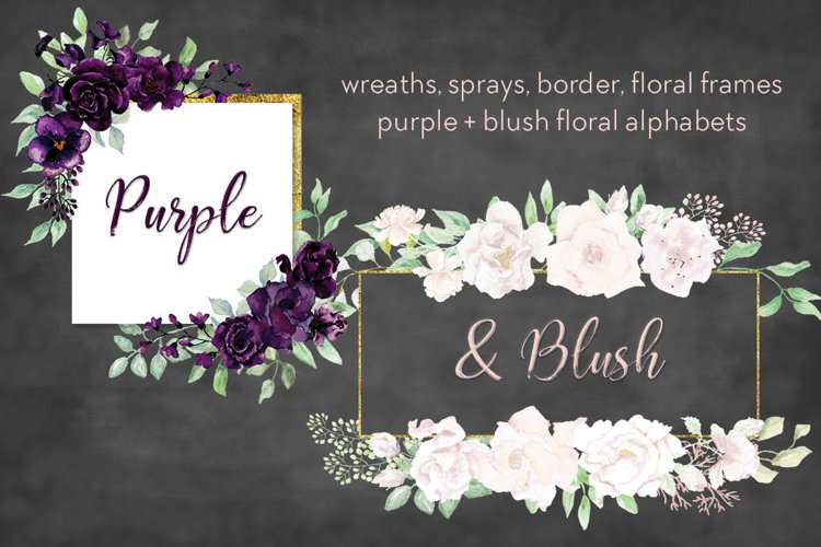 Purple and blush watercolor set