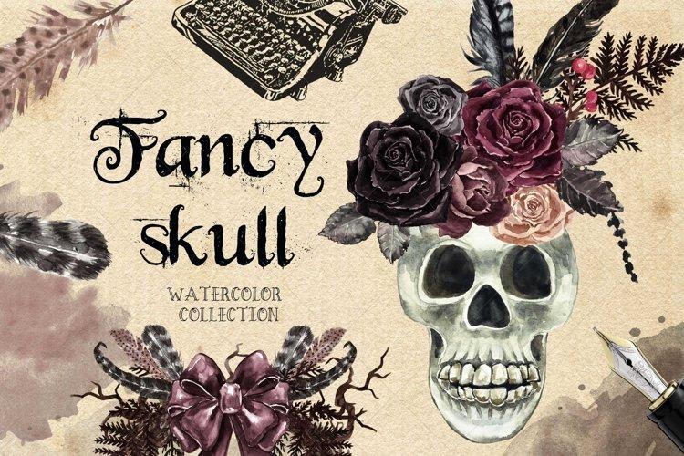 Floral Skull Clip Art Watercolor Rose skeleton Halloween example image 1