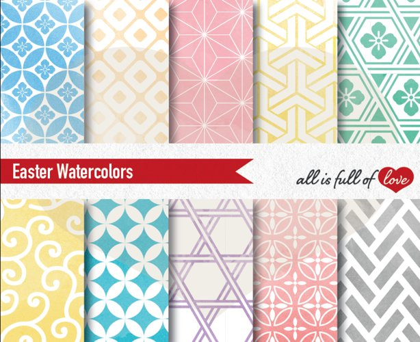 Easter Digital Paper Watercolor Background Patterns example image 1