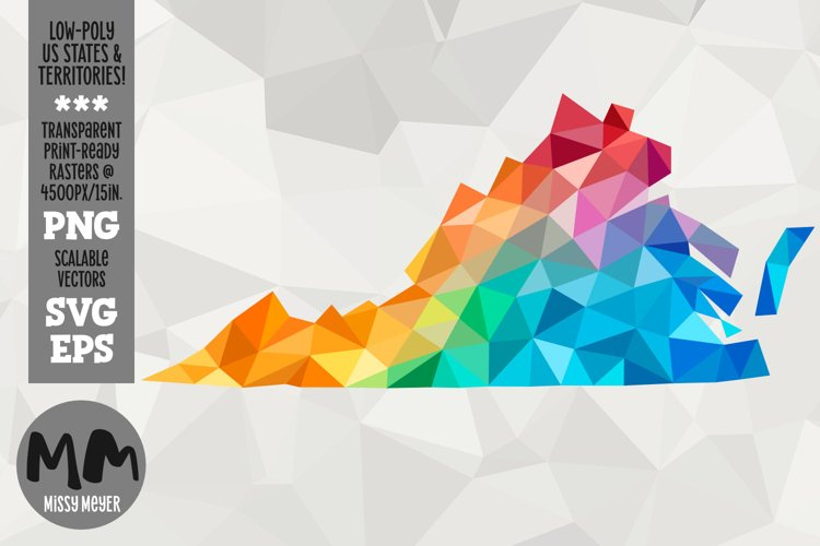Virginia state low-poly rainbow for sublimation & print