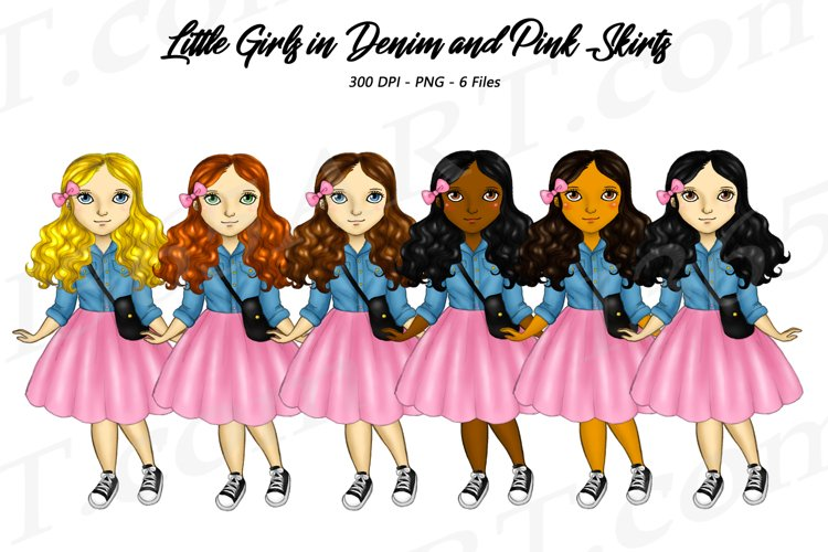 Little Girls Clipart Denim and Pink Party Skirts PNG