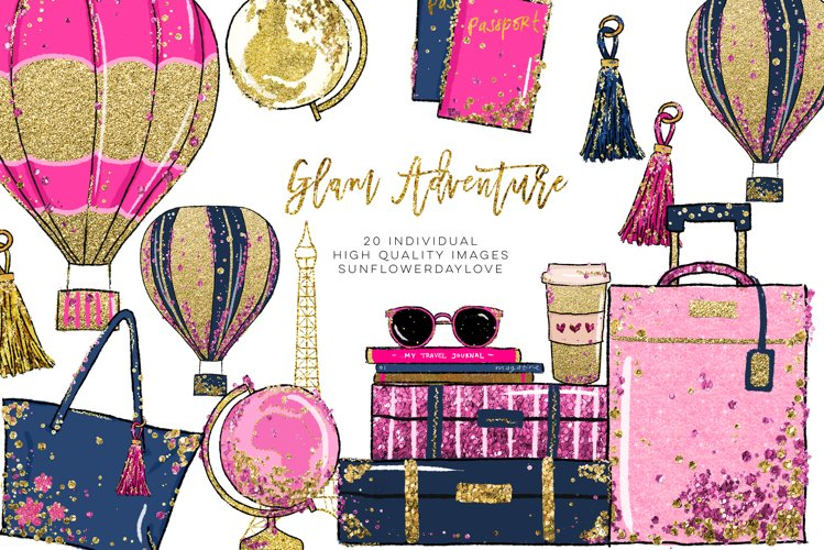 Glam Adventure Travel Clipart, Travel Fashion Clipart example image 1