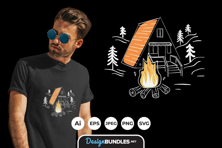 Campfire for T-Shirt Design example image 1