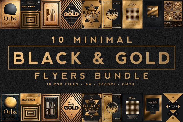 10 Minimal Black and Gold Flyers Bundle example image 1