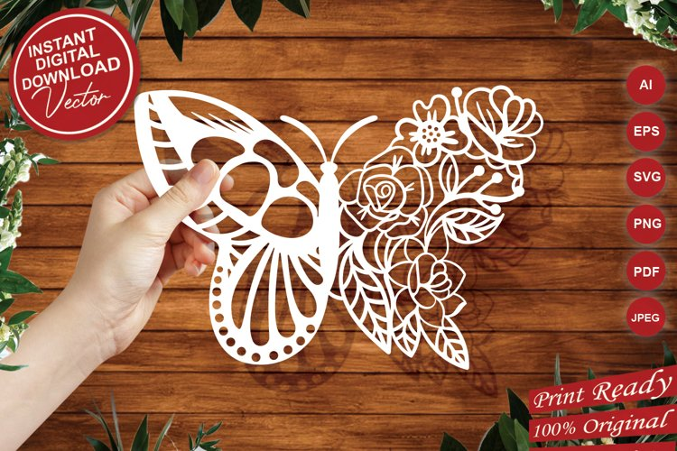 Papercut Beautiful Butterfly Floral Arrangement example image 1