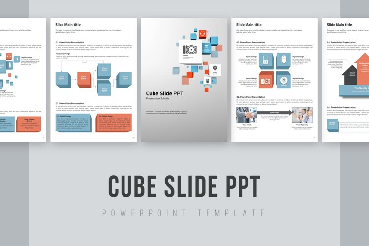 Cube Slide PPT Template Vertical example image 1