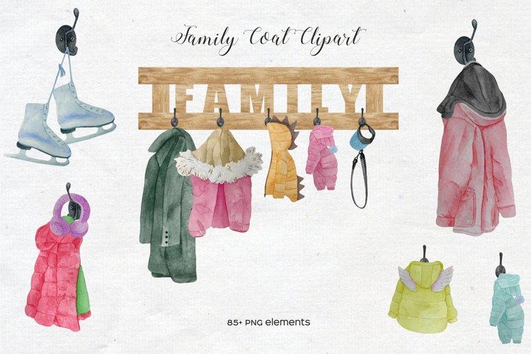 Watercolor Family Coat on Hook Set