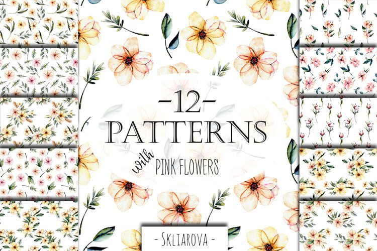 Pink watercolor flowers 12 Patterns example image 1