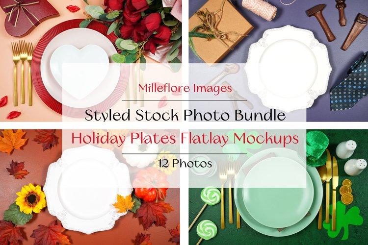 12 Table Plates Holiday Mockups Styled Stock Photo Bundle