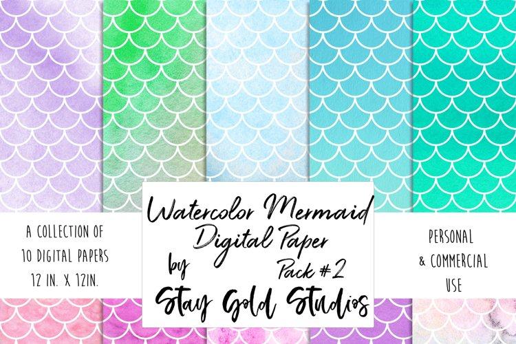 Watercolor Mermaid Patterns - Pack #2 example image 1