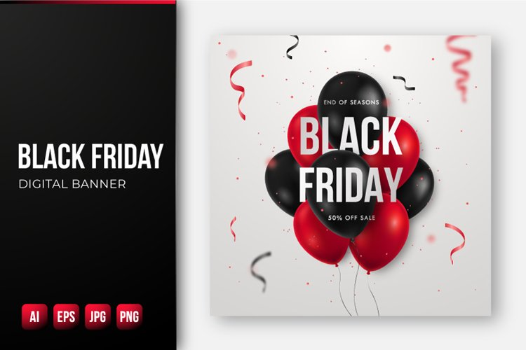 Black Friday Sale banner with glossy red and black balloons.
