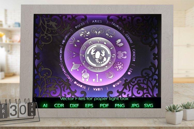 Zodiac sign scorpio Light box template , Paper or cardbo example image 1
