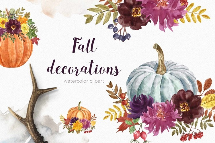 Fall Floral Pumpkin Clipart Autumn Watercolor Flowers Decor example image 1