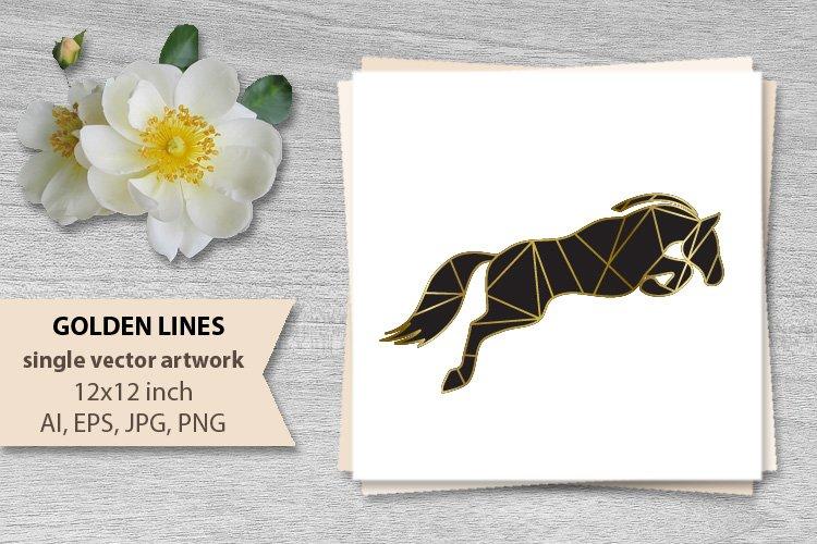 GOLDEN LINES HORSE- single vector artwork example image 1